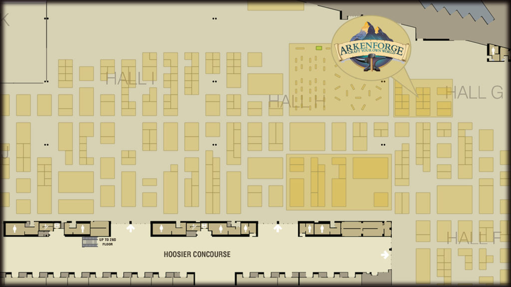 The location of the Arkenforge booth on the map of Gencon 21